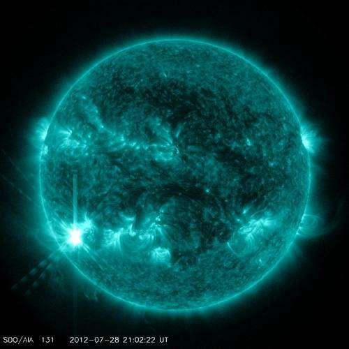 Sun emits a medium-intensity solar flare