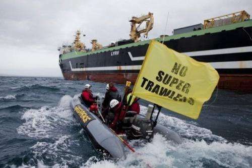 The FV Margiris repelled Greenpeace protesters to dock at Port Lincoln in South Australia last Thursday for re-flagging