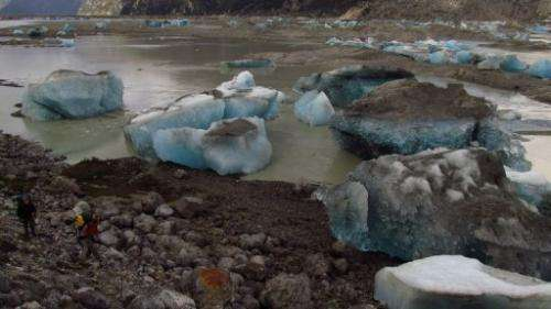 The lake's water comes from ice melting from the Colonia Glacier, located in the Northern Patagonian ice field