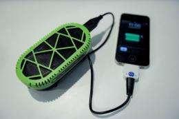 The PowerTrekk charger converts water into electricity to power a mobile phone