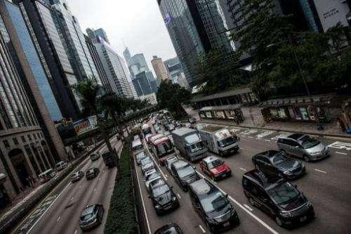 Traffic gridlock is seen in Hong Kong