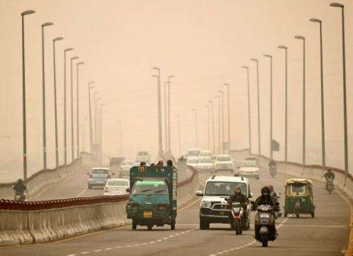 With temperatures falling after the hot summer, a thick haze of dust and pollution has been trapped in the city