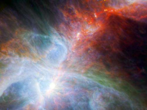 Young stars flicker amidst clouds of gas and dust
