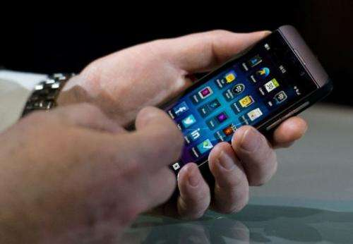 A new touchscreen Z10 Blackberry devices in central London on January 30, 2013
