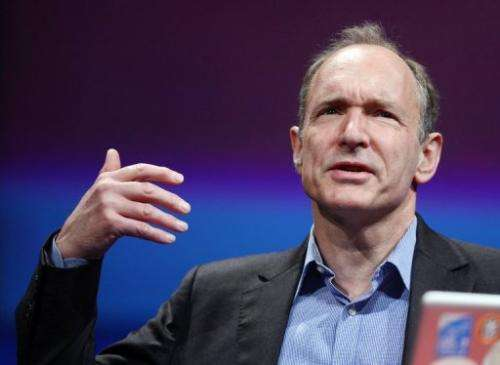 British computer scientist Tim Berners-Lee delivers a speech in Lyon, on April 18, 2012