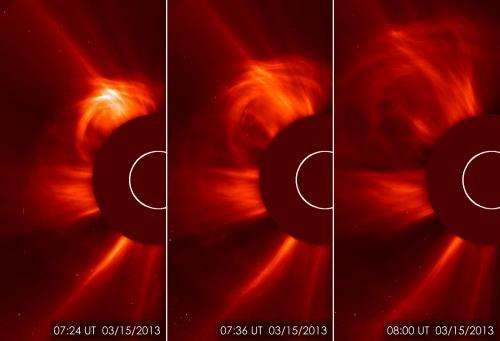Earth-directed coronal mass ejection from the sun