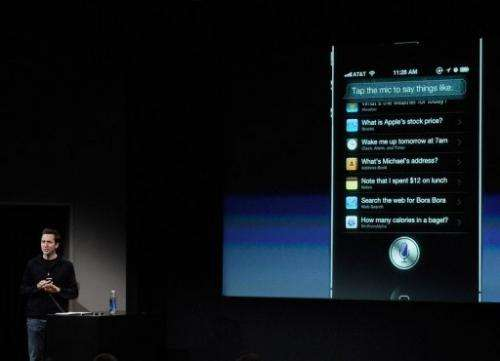File photo of Apple's Senior VP of iOS, Scott Forstall, speaking in Cupertino, California, on October 4, 2011