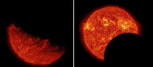 NASA's SDO observes Earth, lunar transits in same day