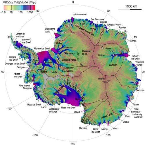 'Tiger stripes' underneath Antarctic glaciers slow the flow