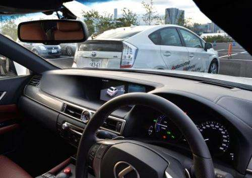 """Toyota Motor demonstrates the advanced driving support system """"Automated Highway Driving Assist"""" in Tokyo, October 10,"""