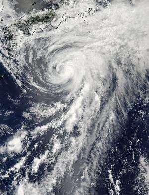 NASA satellite sees Tropical Storm Yagi just south of Japan