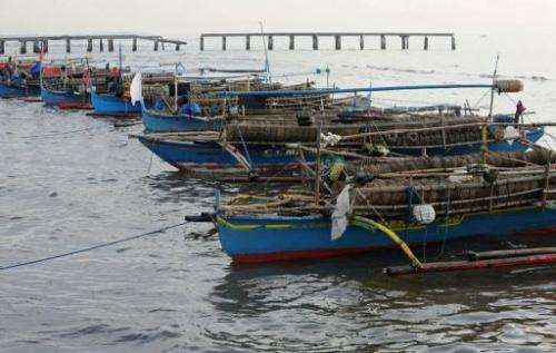 Fishing boats are moored at a fishing village in Cavite north of Manila on August 9, 2013