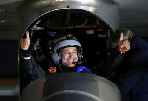 Pilot Bertrand Piccard prepares for take off in the Solar Impulse airplane on May 3, 2013 in Mountain View, California