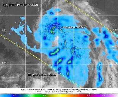 NASA sees heaviest rain north of Tropical Storm Flossie's center