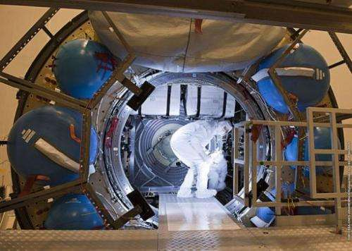 This handout picture released on January 1, 2013 by Arianespace shows the loading process for ATV Albert Einstein