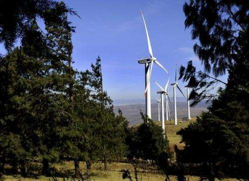 Wind turbines in the Ngong Hills, some 25 kms south-west of Nairobi, October 29, 2010