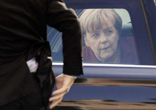 German Chancellor Angela Merkel arrives on October 25, 2013 for the second day of a European Council meeting at the EU headquart