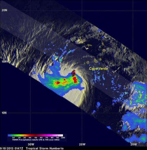 NASA sees heavy rainfall in strengthening Tropical Storm Humberto