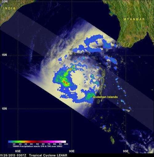 NASA satellite tracks Tropical Cyclone Lehar moving toward India
