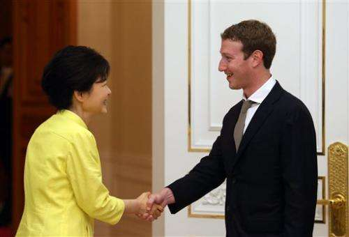 Facebook CEO meets SKorean president