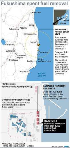 Graphic showing Japan's Fukushima nuclear power plant where engineers are readying to move uranium and plutonium fuel rods from