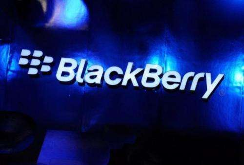 A Blackberry logo pictured at the 2010 International CTIA Wireless convention in Las Vegas on March 23, 2010.