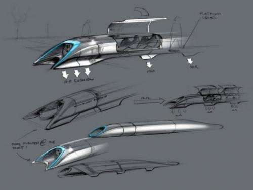 A concept drawing of the Hyperloop, a fast transport design unveiled August 12, 2013 by Elon Musk