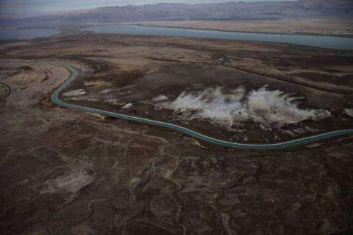 A dried up area of the Dead Sea is pictured near Ein Boqek, Israel on November 10, 2011