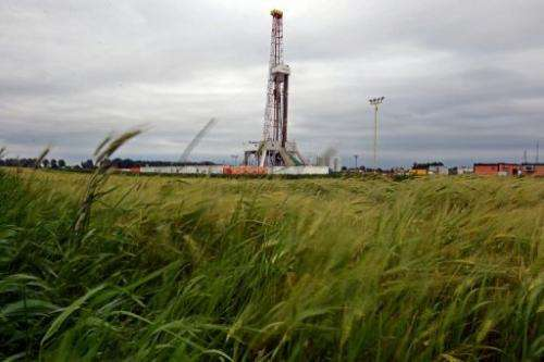 A drilling rig exploring for shale gas is pictured in Ksiezomierz in south-eastern Poland on June 11, 2013