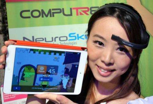 """A NeuroSky brainwave starter kit, """"MindWave Mobile,"""" seen during a press conference in Taipei, on May 28, 2013"""
