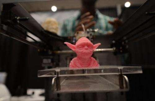 """An object made with a 3D printer on display at the """"Inside 3D Printing"""" exhibition in New York on April 22, 2013"""