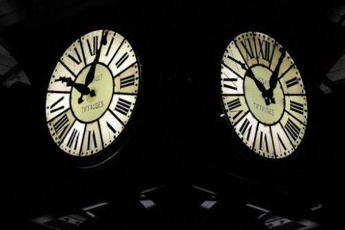 An old clock is pictured on March 22, 2013, in Angers, western France