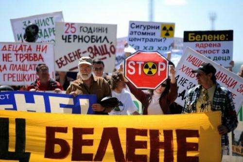 Anti-nuclear protesters at  the construction site of Bulgaria's second nuclear plant, near Belene on April 25, 2011