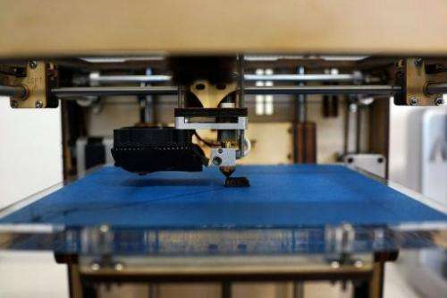 An Ultimaker 3D printer prints an object on May 9, 2013 in New York City