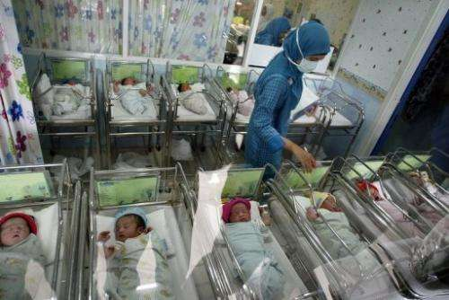 A nurse at the Mother and Child Hospital in Surabaya province looks after newborn babies born on December 12, 2012