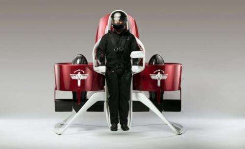 A personal jetpack developed by Martin Aircraft Company with a pilot strapped in place, pictured August 2013.