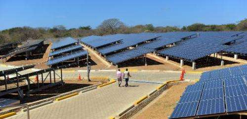 A photovoltaic power plant built with a donation from Japan in Diriamba, Nicaragua is pictured on February 21, 2013