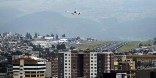 A plane lands at the Mariscal Sucre international airport in Quito on February 19, 2013