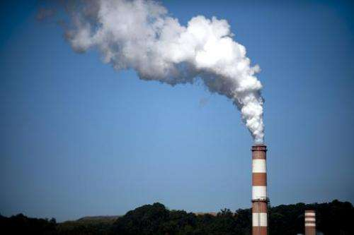 A plume of exhaust extends from a coal-fired power plant on September 24, 2013 in New Eagle, Pennsylvania