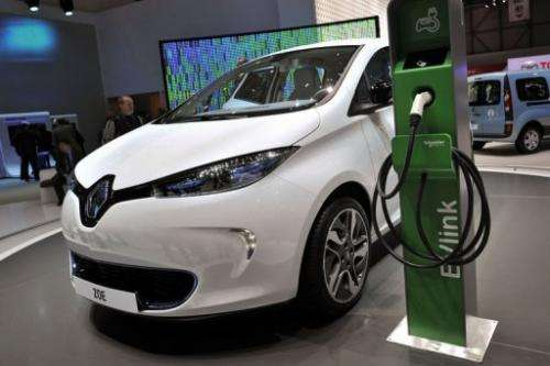 A Renault Zoe electric car is displayed at a booth ahead of the Geneva Motor Show on March 7, 2012.