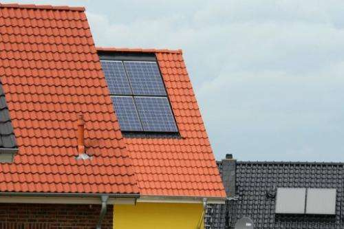 A roof with solar panels in Grevenbroich near Aachen, southern Germany on September 11, 2012