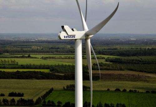 A Vestas turbine near Baekmarksbro in Denmark's Jutland region on June 29, 2012