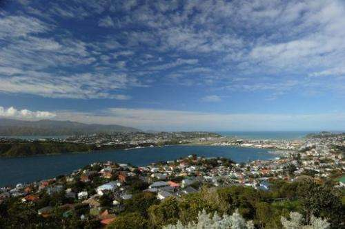 A view of Wellington, New Zealand from Mount Victoria Lookout on September 15, 2011