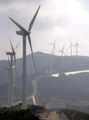 A wind turbine complex on the Zhemo Mountain in the outskirts of Dali in China's Yunnan province on November 5, 2009