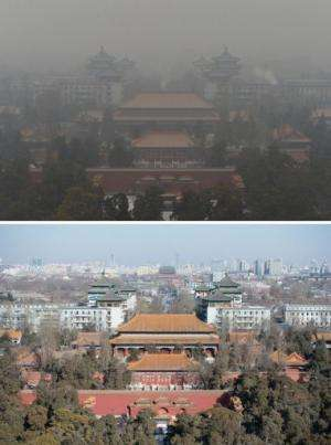 Beijing's Guotai Chambers building (top) during polluted weather on January 31, and during clear weather on February 1