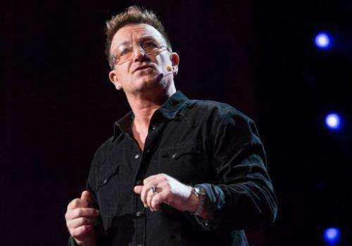 Bono, musician and activist, at the prestigous TED gathering on February 26, 2013 in Long Beach, California