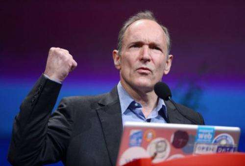 British computer scientist Tim Berners-Lee gives a speech on April 18, 2012 in Lyon, France