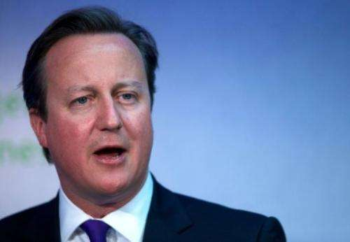 British Prime Minister David Cameron speaks in London on June 8, 2013