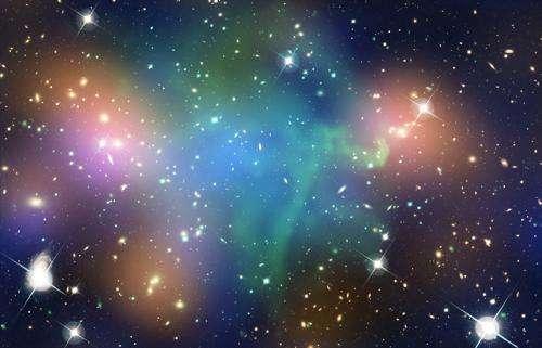 Dark Matter and Galaxies Part Ways in Collision between Hefty Galaxy Clusters