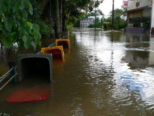 Floodwaters are pictured in the town of Lismore, in Australia's NSW state, on January 29, 2013